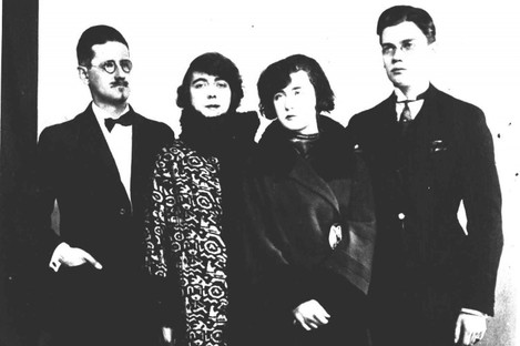 James Joyce, left, pictured with wife Nora and their daughter and son in Paris in 1924.