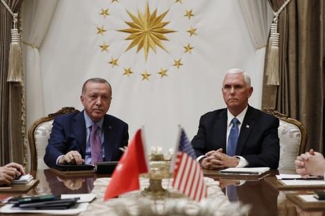 Turkish President Recep Tayyip Erdogan and US Vice President Mike Pence