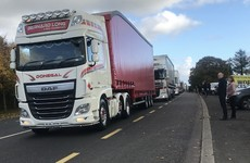 'We don't want to go back to those days': Convoy of 150 trucks hold cross-border protest