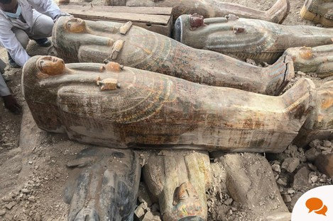 Newly discovered coloured ancient wooden coffins with inscriptions and paintings earlier this month in Luxor, Egypt.