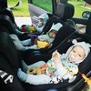 'It takes 2.5 hours to get out the door': Mum of triplets Elizabeth shares the prep behind this car seat snap