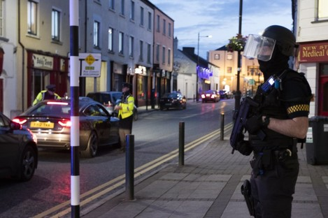 Armed gardaí on the streets of Longford.