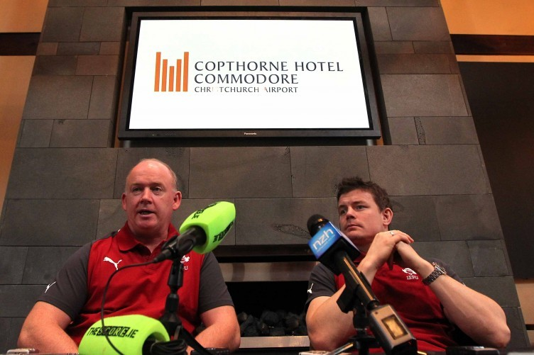 Declan Kidney and Brian O'Driscoll on Thursday.