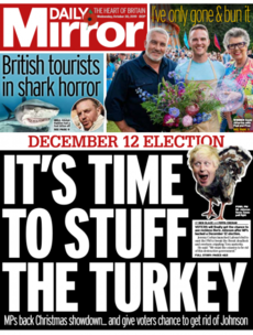 'It's time to stuff the turkey': UK front pages react to decision to hold general election