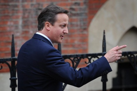 David Cameron at the Leveson inquiry today.