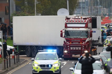 The container lorry where 39 people were found dead inside leaving Waterglade Industrial Park in Grays, Essex