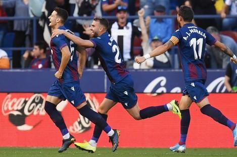 Levante celebrate their second-half comeback against Barcelona