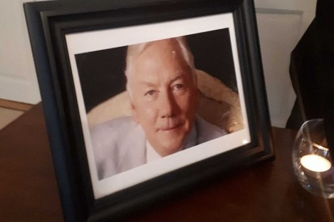 Photo of Gay Byrne at the Mansion House, Dublin.