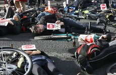 Cyclists stage 'die in' outside the Dáil in second day of protest