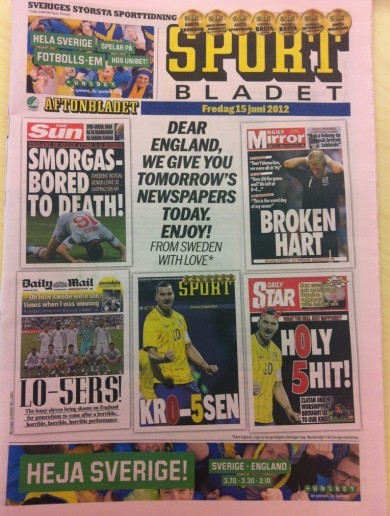 Sweden's Sportbladet wins the award for best front page splash of Euro 2012