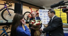 Shane Ross says he understands cyclist 'die ins' as he's presented with flowers for dead cyclists
