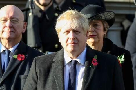 UK Prime Minister Boris Johnson attending the annual Remembrance Sunday memorial at The Cenotaph.