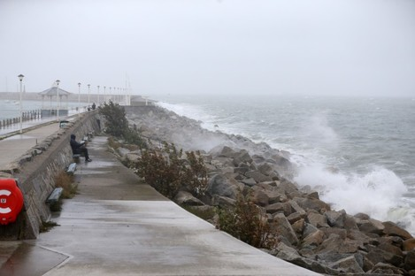 The waves bounce of the rocks at Dún Laoghaire pier in Dublin ahead of Storm Lorenzo last month.