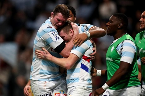 Donnacha Ryan and Finn Russell celebrate Russell's try.