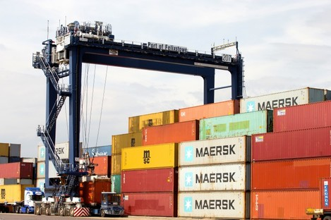 File photo of the Port of Felixstowe in Suffolk where the boat had been heading.