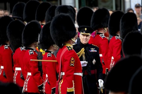 Prince Andrew, the Duke of York, at the parade celebrating 75 years of liberation of Brugge, Belgium.
