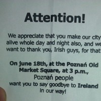 Poznan's message to Irish fans: 'Goodbye and come back soon'