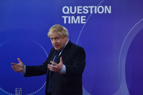 Boris Johnson during the BBC's Question Time this evening.