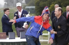 VIDEO: A bird-man crashed the trophy ceremony at the US Open