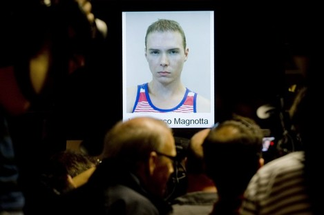 A photo of Luka Rocco Magnotta is shown during a news conference in Montreal last week