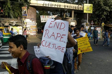 Protesters call for action on Monday after a woman was gang-raped and killed in a separate incident in India