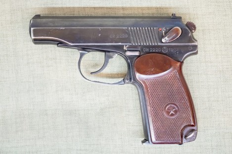 A file photo of a Russian semi-automatic Makarov pistol from 1951.