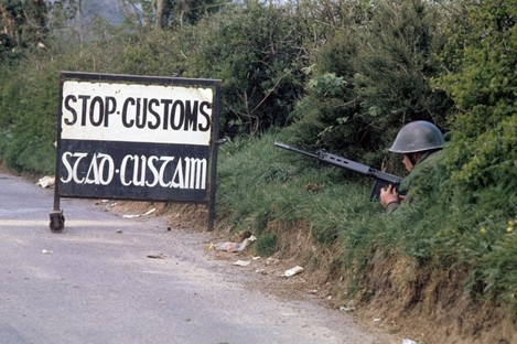 A customs check at the border in 1974.