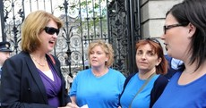 In pictures: Burton confronted outside Dáil over domiciliary care allowance