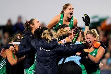 The Irish hockey team celebrate booking their Olympic ticket.