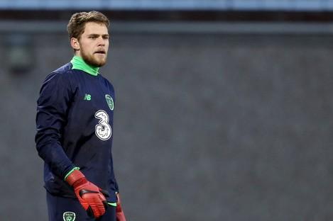 Liam Bossin training with Ireland U21s.