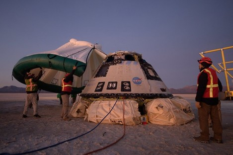 The spacecraft shortly after it landed today.