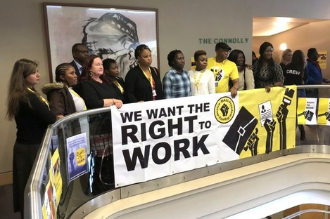 Members of Movement of Asylum Seekers Ireland (Masi) at a conference in Dublin calling for an end to the Direct Provision system.