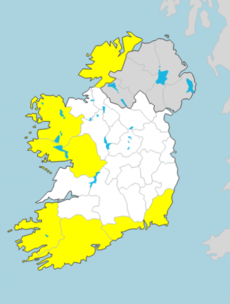 Wind warnings issued for seven counties with gusts of up to 100km/h expected