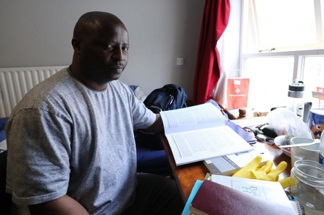 Lesley Mkoko in his Direct Provision room in Waterford.