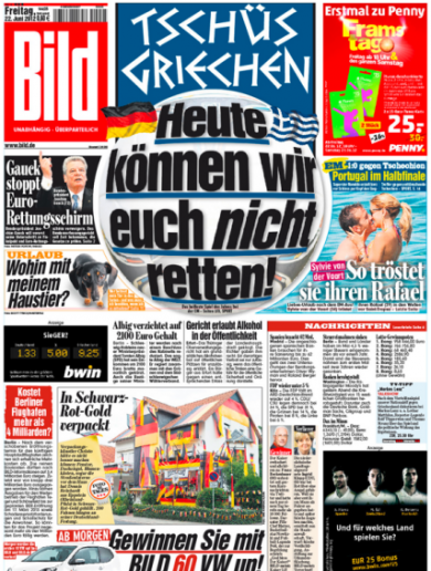 Löw Blow! German newspaper wastes no time in having a bailout dig at Greece