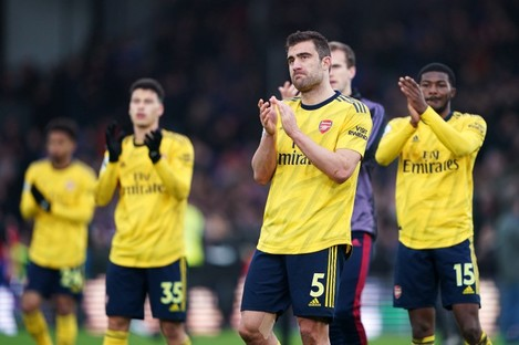 Arsenal's Sokratis Papastathopoulos applauds the fans after the Premier League match at Selhurst Park.