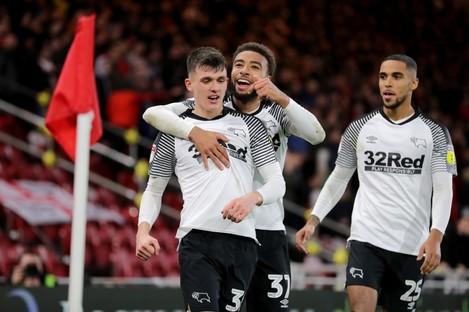 Derby County's Jason Knight celebrates his goal.