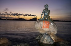 Graffiti painted on Copenhagen's Little Mermaid statue