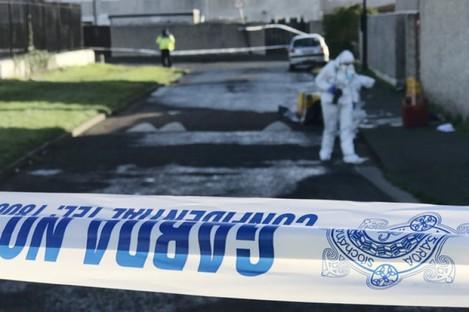 Garda Forensics teams examining scene of 39-year-old John Lawless' shooting in Darndale in February 2019.