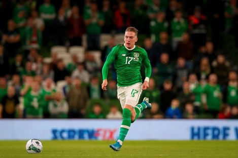 Ronan Curtis in possession for Ireland against Bulgaria.