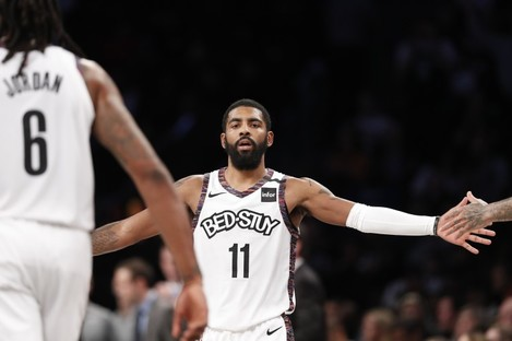 Kyrie Irving in action for Brooklyn Nets.