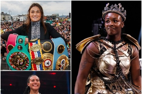 Left: Katie Taylor and Cecilia Braekhus pose with all their titles at lightweight and welterweight respectively. Right: Three-weight world champion Claressa Shields takes to the ring.