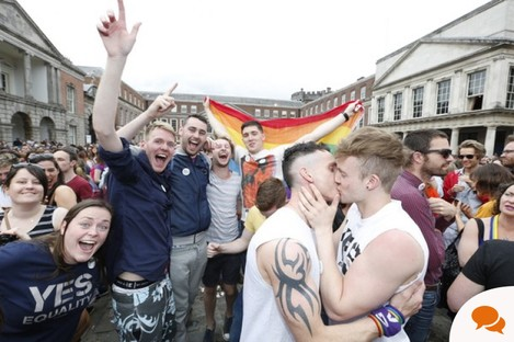 Celebrations after the Yes result in the Marriage Equality referendum in Dublin Castle in 2015. Young people turned out in strong numbers to vote.