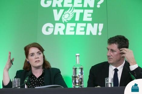 Green Party Finance spokesperson Neasa Hourigan and leader Eamon Ryan