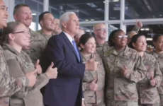 US Vice President Mike Pence meets with troops at Shannon Airport