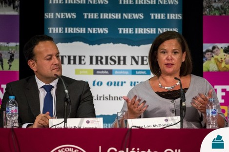 Varadkar and McDonald at an event in Belfast last year.