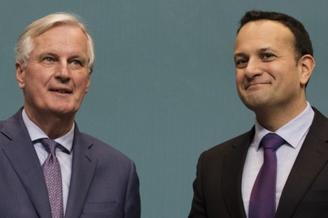 Michel Barnier and Leo Varadkar earlier this year in Dublin.