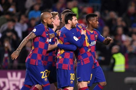 Barcelona players celebrate during their win over Leganes.