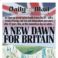 'Yes we did it' and a 'new dawn for Britain': UK newspapers celebrate and lament Brexit day