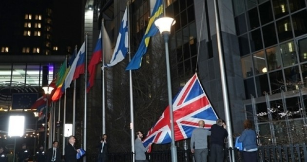 British flag lowered from outside European Parliament ahead of Brexit hour